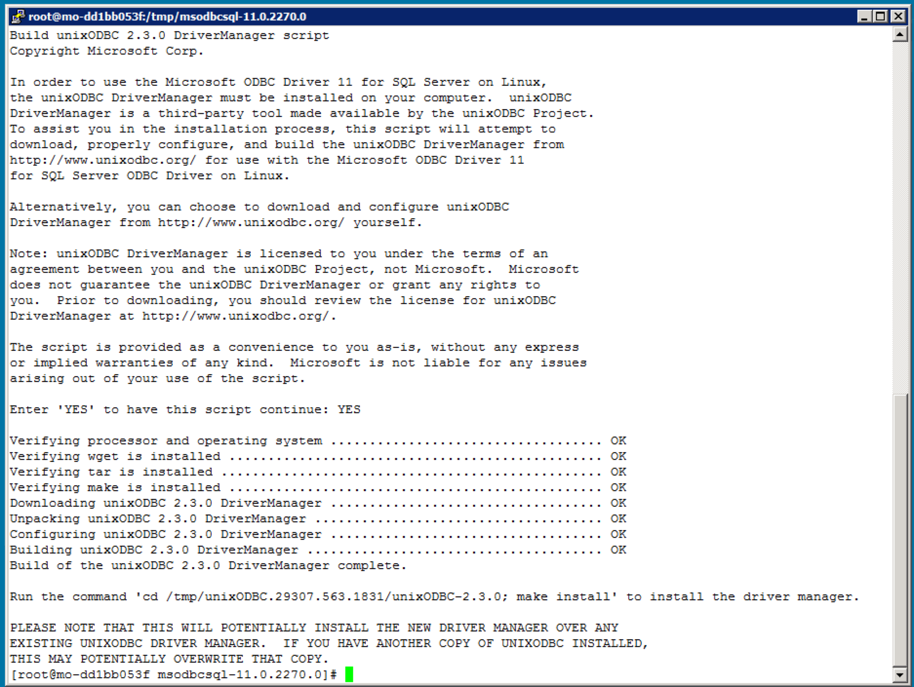 Microsoft ODBC Driver for SQL Server on Linux – by the SAP HANA