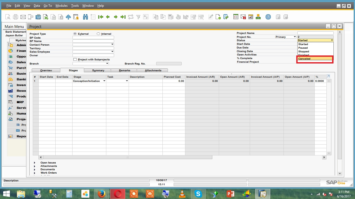 Project management in sap b1 92 sap blogs cancelled status is already in sap b1 here is screen shot whats your b1 version and patch level malvernweather Image collections