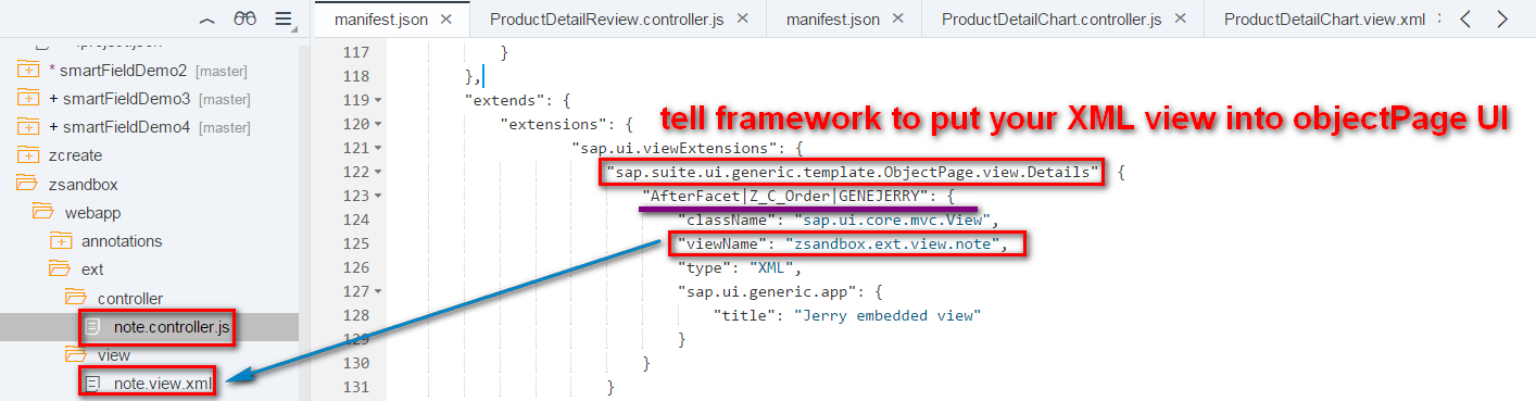 how to inject your own xml view into application generated by smart