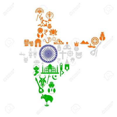18955517-Indian-Map-with-Cultural-Object-Stock-Vector-india-flag.jpg