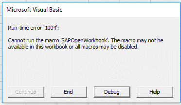 the macro may not be available in this workbook or all macros may be disabled