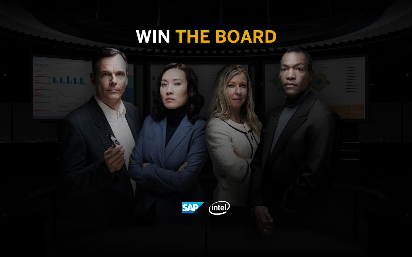 Win the board with logos, all 4 people