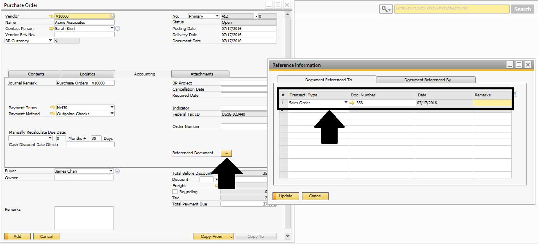 sap b1 sdk document reference information sap q a
