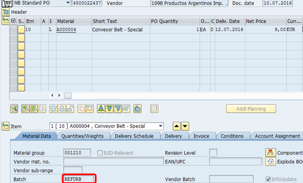 Refurbishment of Repairable Spares: Integration between SAP