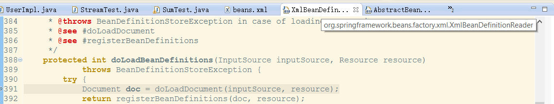 how to find the exact location where bean configuration file is