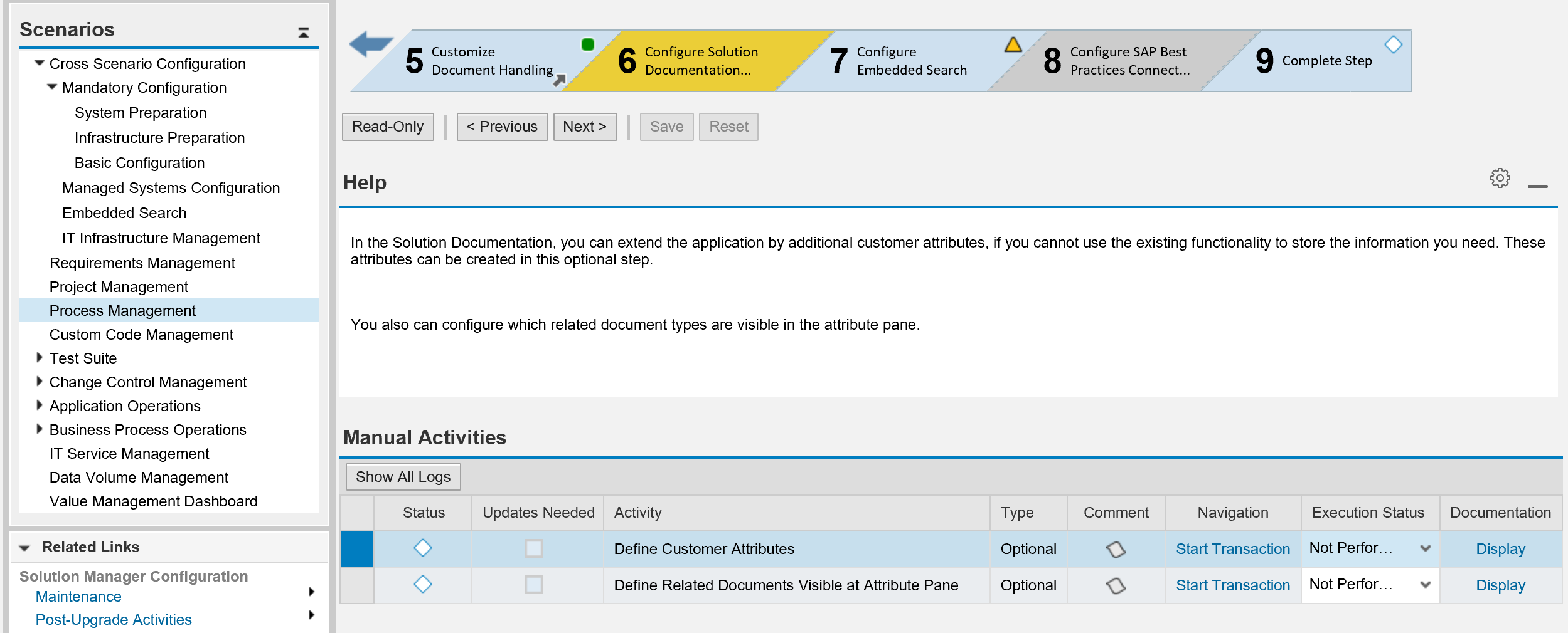Create Customer Attributes for Elements of the Process Management in