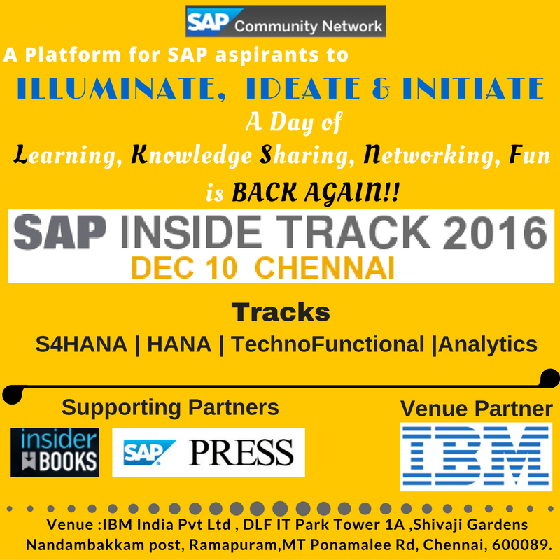 Sap inside track chennai on dec 10 2016 announcement postponed is an organizer in the event a participant or a presenter each have their own success story to share about the event courtesy sit chennai 2014 malvernweather Gallery