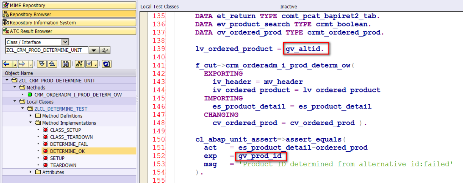 How to create unit test for product determination function module