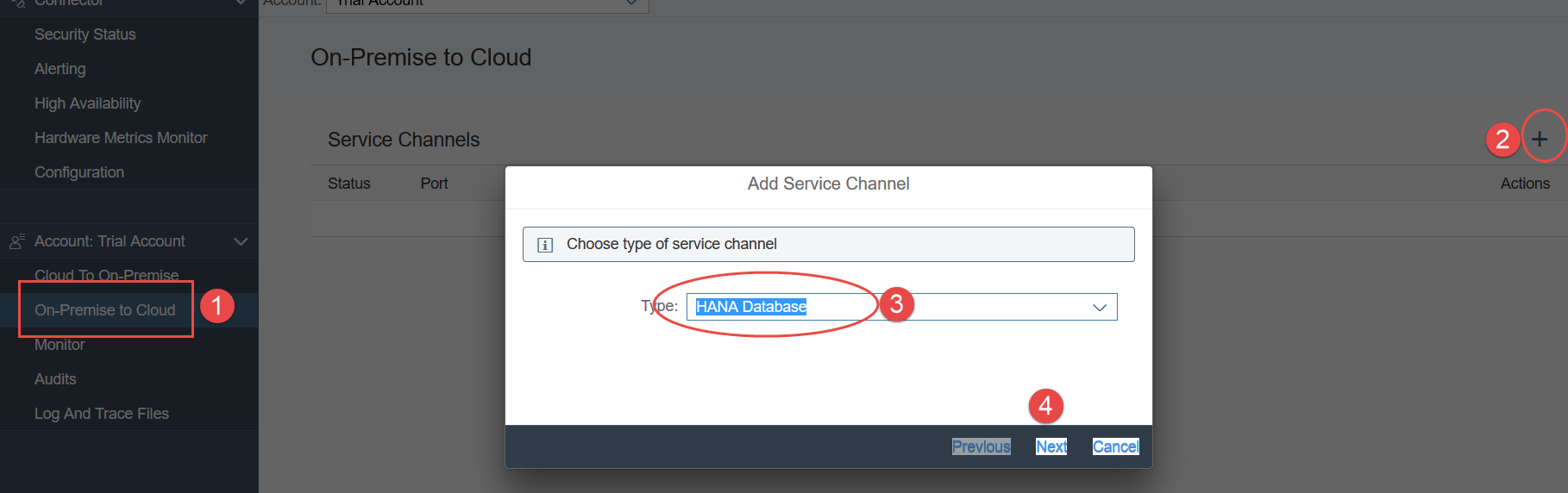 Service Channel:Consume HANA databases on HCP from OnPremise tools