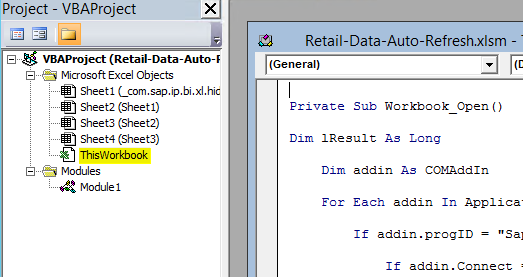 Automated updating of BW data in Excel files (BEX & AO) via
