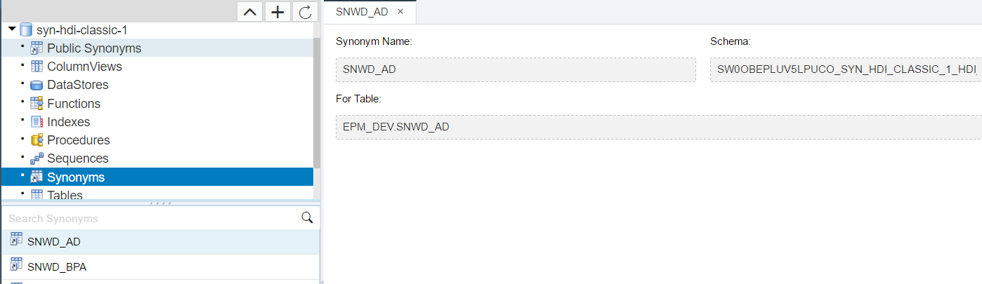 Synonyms in HANA XS Advanced, Accessing Objects in an