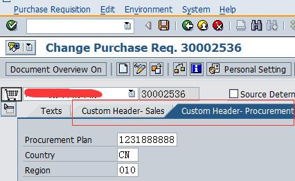 Add a Custom Screen on Purchase Requisition Header | SAP Blogs