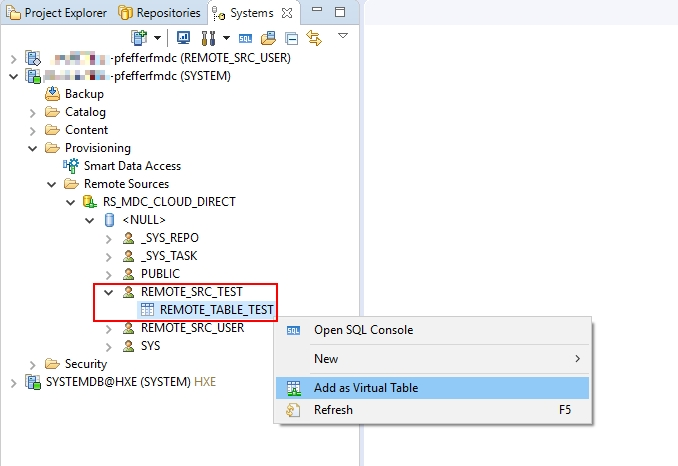 Create a HANA Remote Source (for test reasons) with a HCP