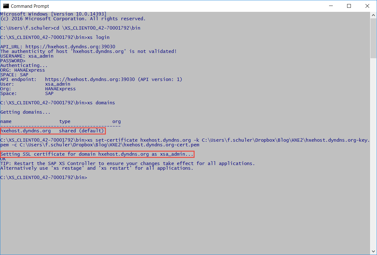 Tips tricks for an optimized hana 20 express edition if you were interested in the details of this step please check out my respective blog providing openssl certificates for domains defined in hana xsa xflitez Image collections