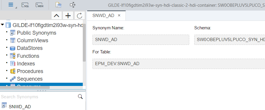 Synonyms In Hana Xs Advanced Configuration Templating Service