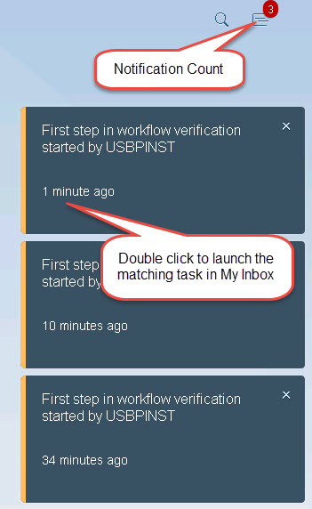 Example notifications as they appear in the Notification Preview Panel