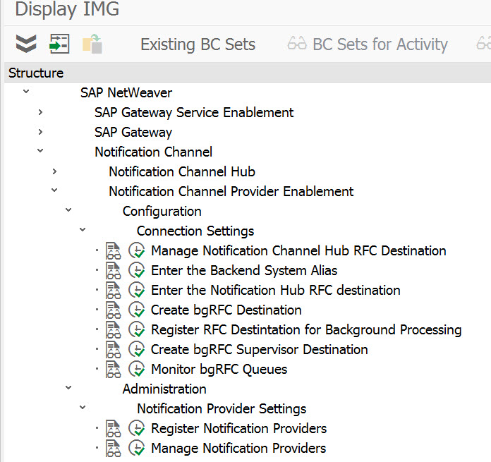 Menu path in the IMG to Notification Channel Provider Enablement