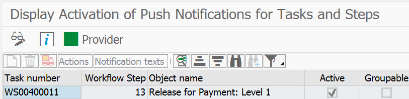 Top of transaction SWF_PUSH_NOTIF1 showing not activate green square icon for the Task Provider
