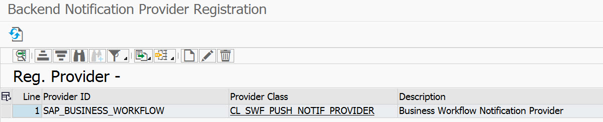 Registration entry for the SAP_BUSINESS_WORKFLOW notification provider