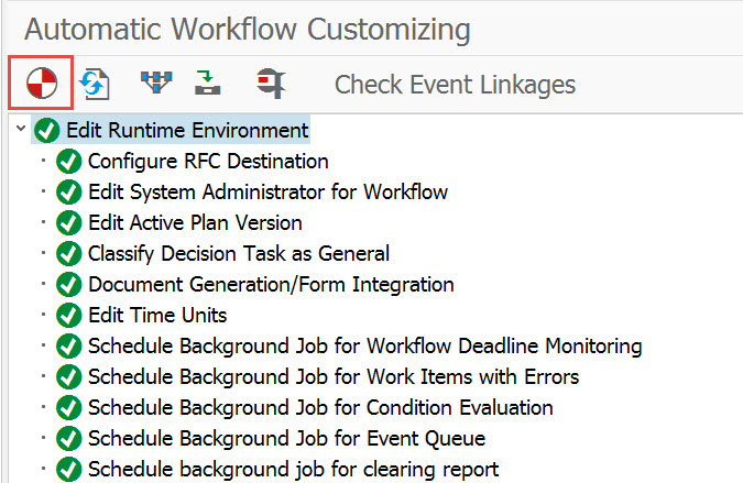 Workflow Runtime Configuration as it appears when activated in transaction SWU3
