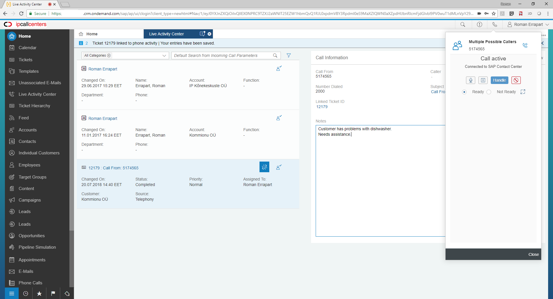 What's New in 1702 – SAP Hybris Cloud for Customer – Call Center