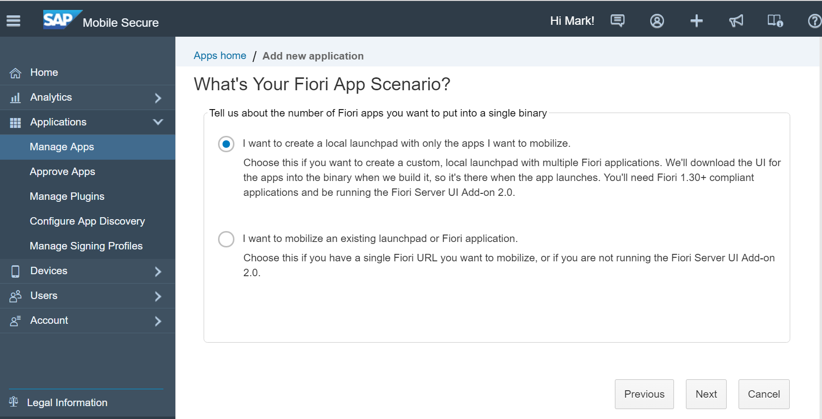 after you select your fiori connection you will need to select the option to use an advanced configuration file browse to the json file you just created to