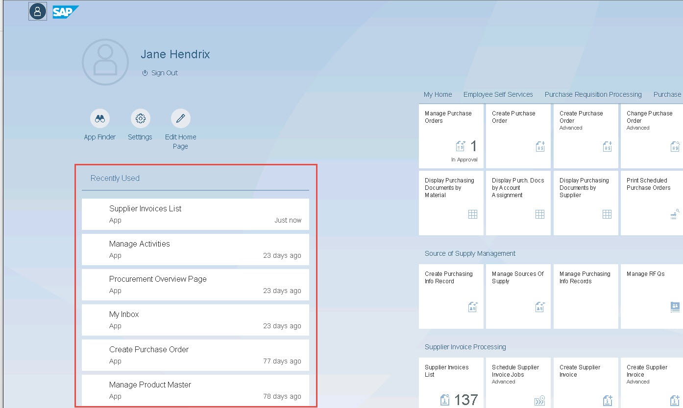 Fiori Launchpad showing the Recently used section of the Me viewport