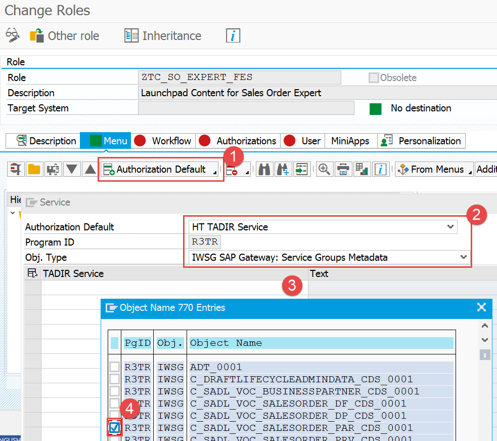 PFCG Menu tab add Authorization Defaults for IWSG permissions