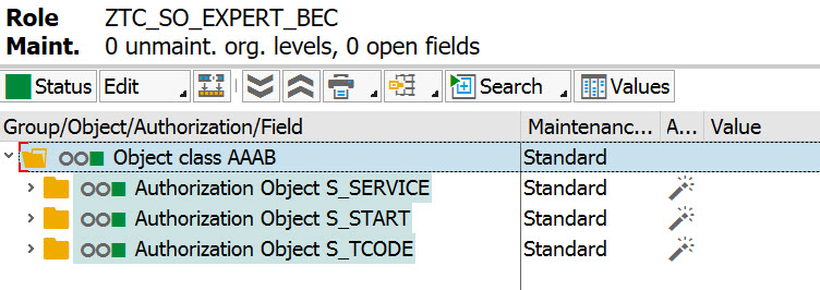 PFCG Change Authorization Data dialog showing completed authorization object assignments S_SERVICE, S_START and S_TCODE