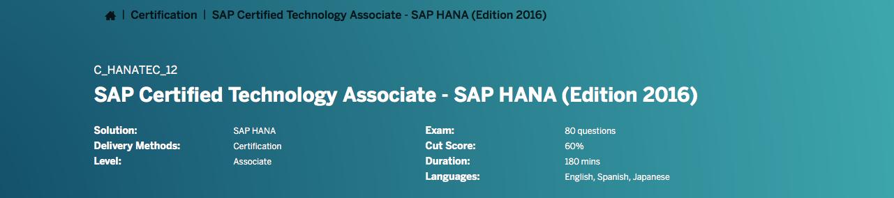 Sap Certified Technology Associate Chanatec12 By The Sap Hana