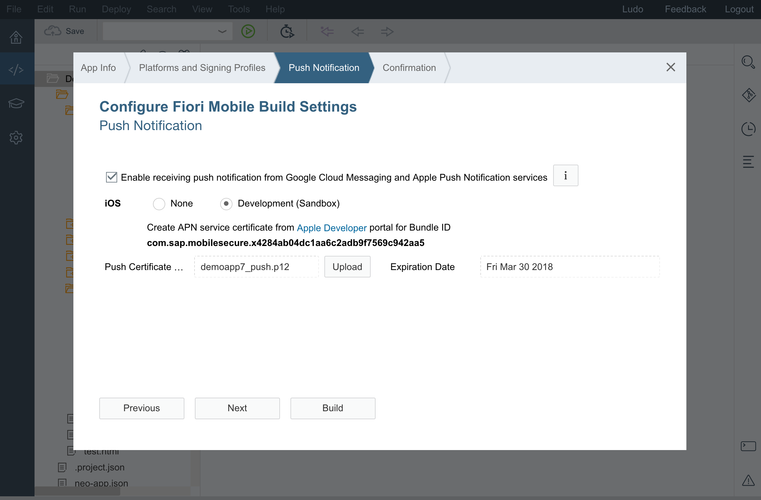 Easily add push notifications to your mobilised fiori app with now that we are done with the configuration we can hit the build button and generate the app in the cloud once the build is done should be in ccuart Choice Image