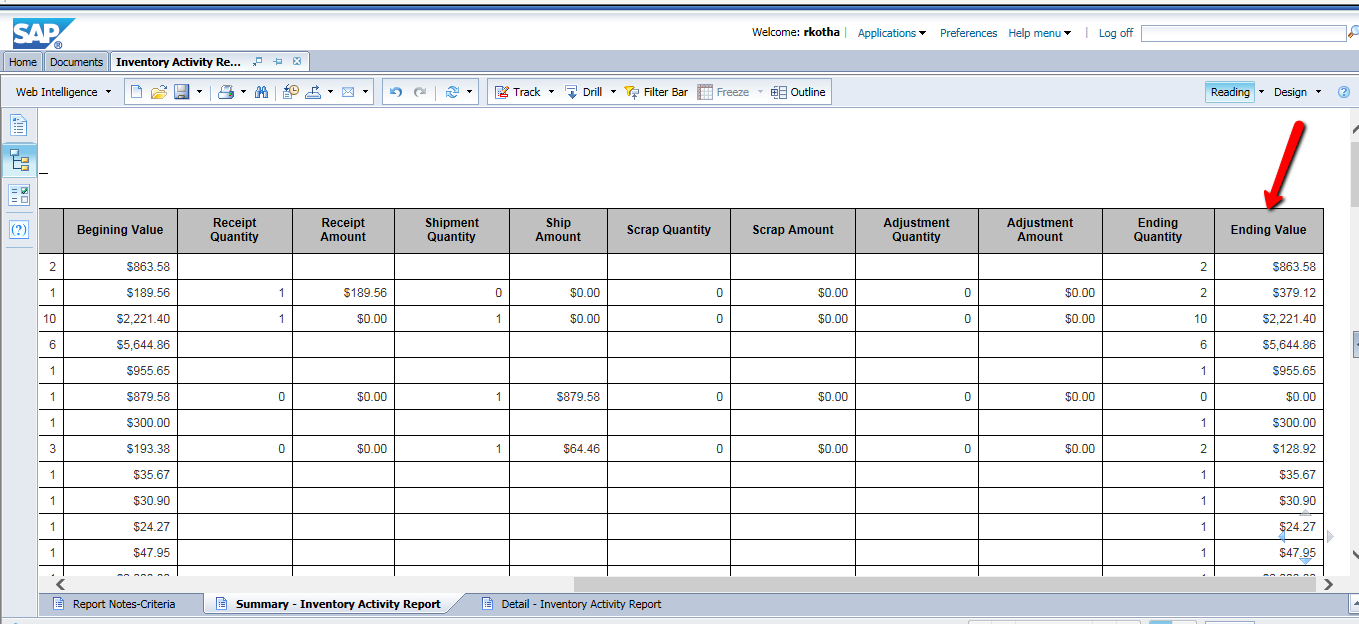 Inventory Value at a given date range Including Serial number BW 7.4 ...