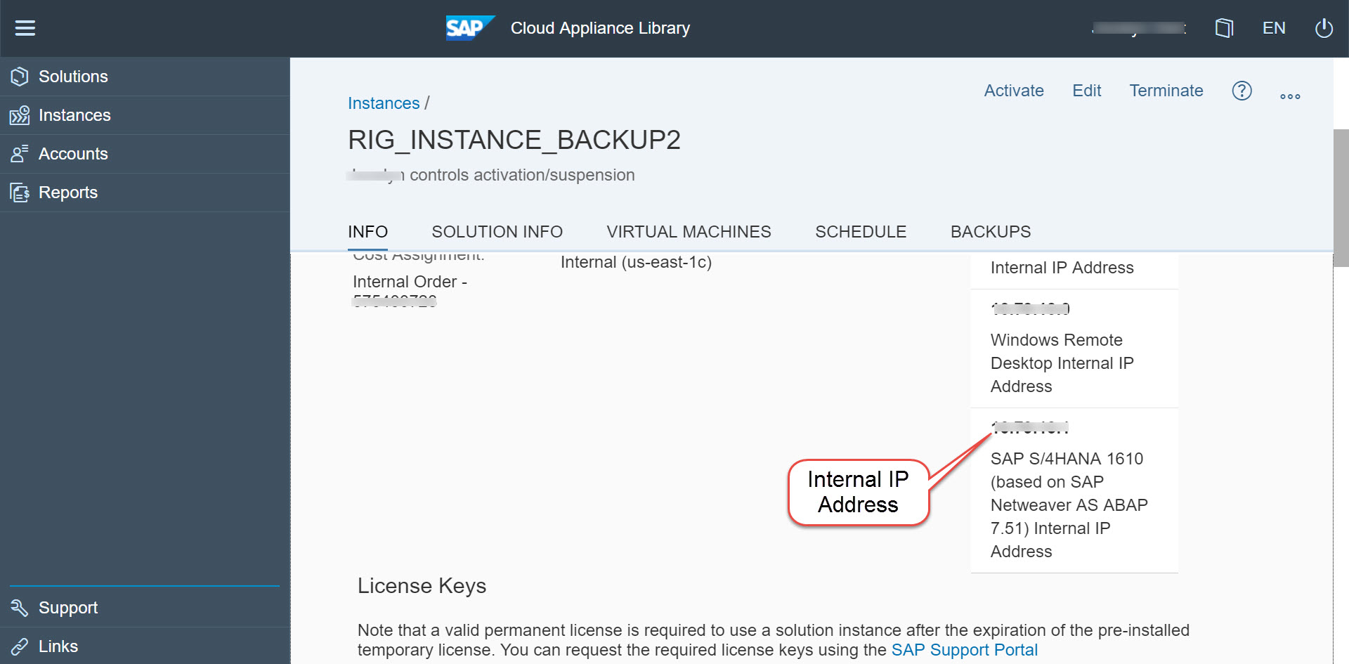 CAL Instance account details showing Internal IP Address in Info section