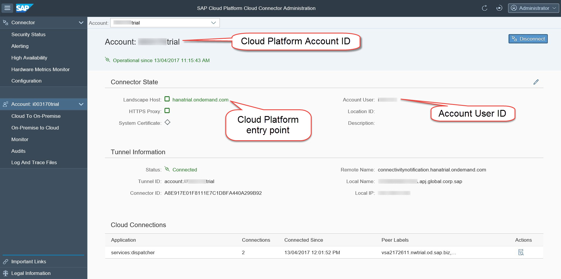 Cloud Connector showing Cloud Platform account configuration