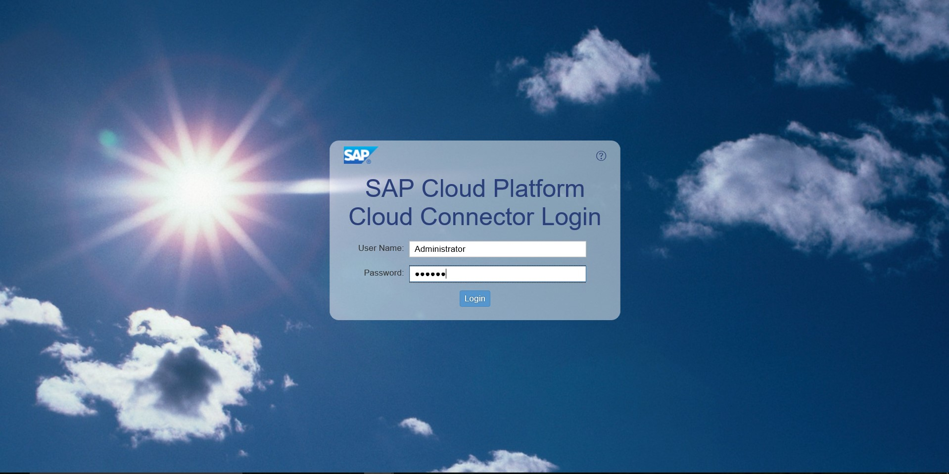 Cloud Connector login screen