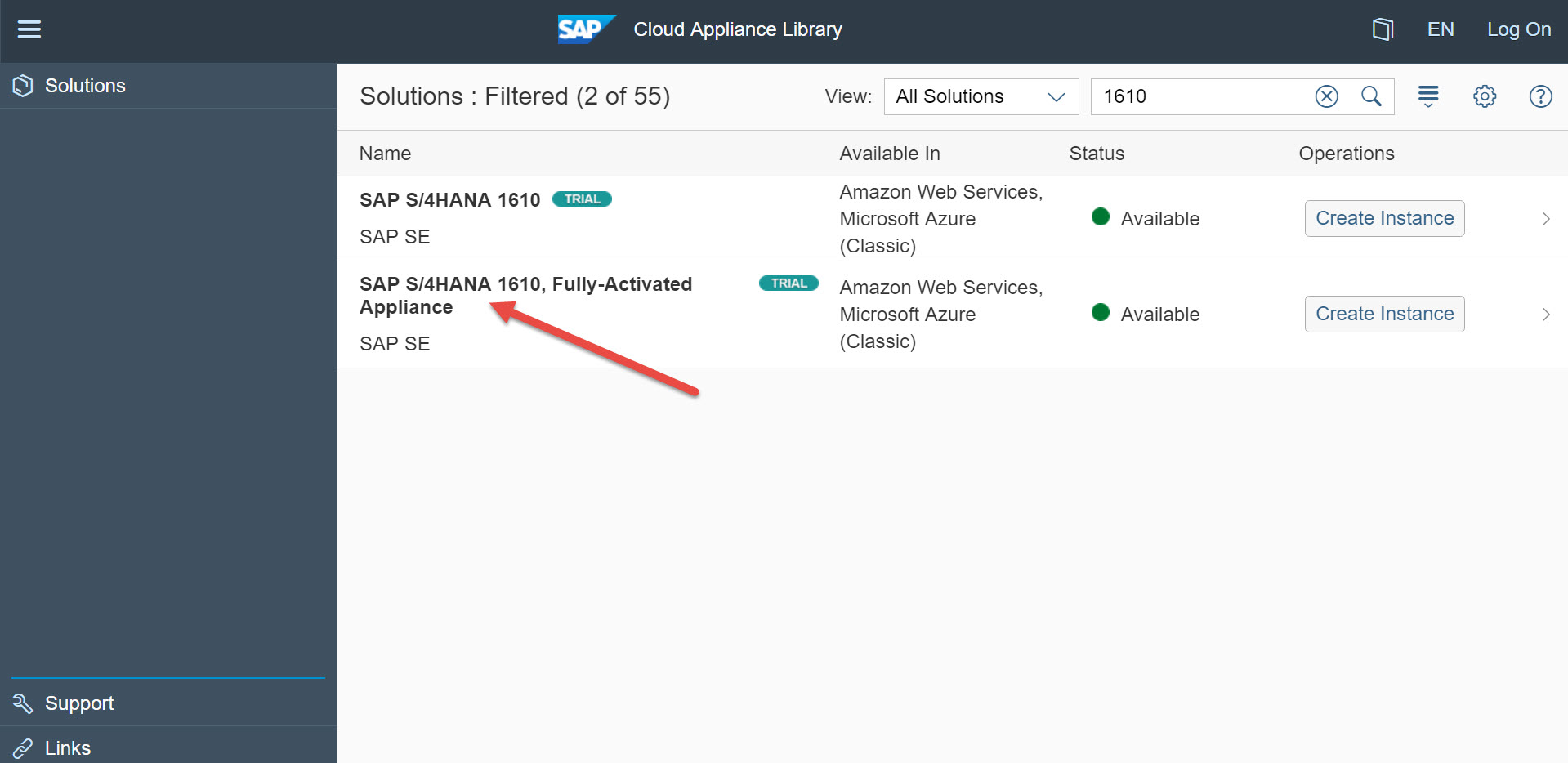 S/4HANA Trial solution in the Cloud Appliance Library