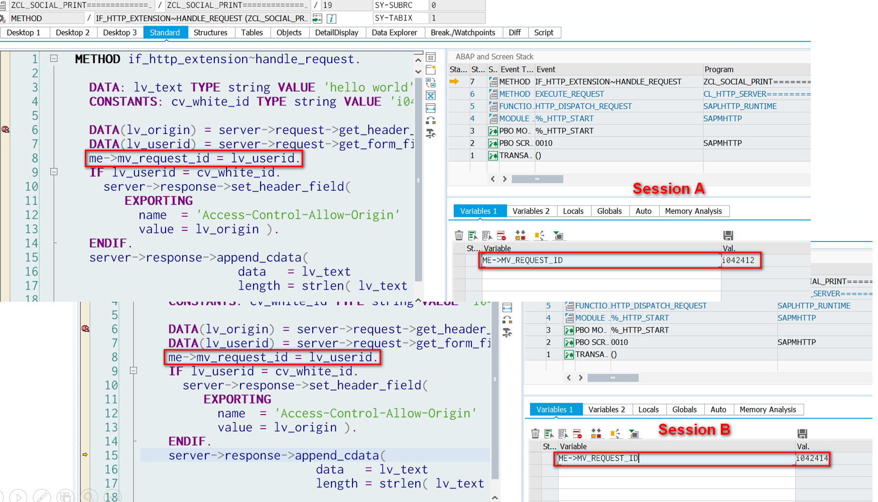 Abap icf handler and java servlet for Thread pool design pattern java