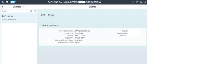 SAP HANA 2 0 SPS01 : What's New for SAP HANA License