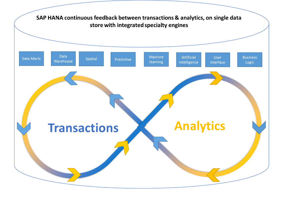 Diagram depicting the implementation of the transaction analytics-continuum in SAP HANA