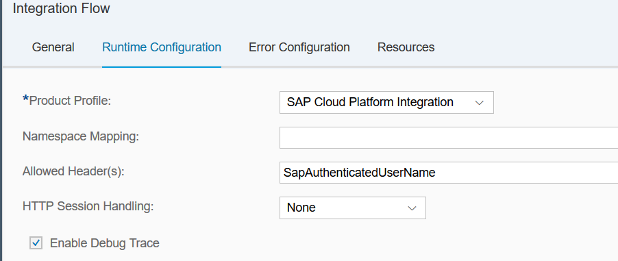 Cloud integration partner directory step by step example sap we add the header name sapauthenticatedusername to the allowed headers so that the logged in user will be forwarded to the integration flow in this malvernweather Choice Image