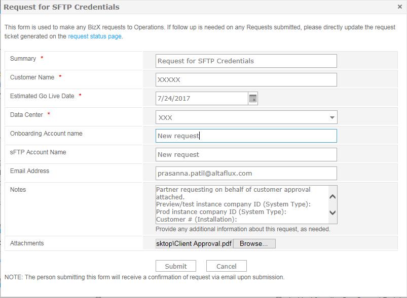 Operations Requests U2013u003e Request Forms U2013u003e Request For SFTP Credentials