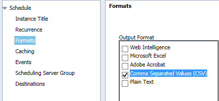 How to schedule Webi report output in CSV or custom format