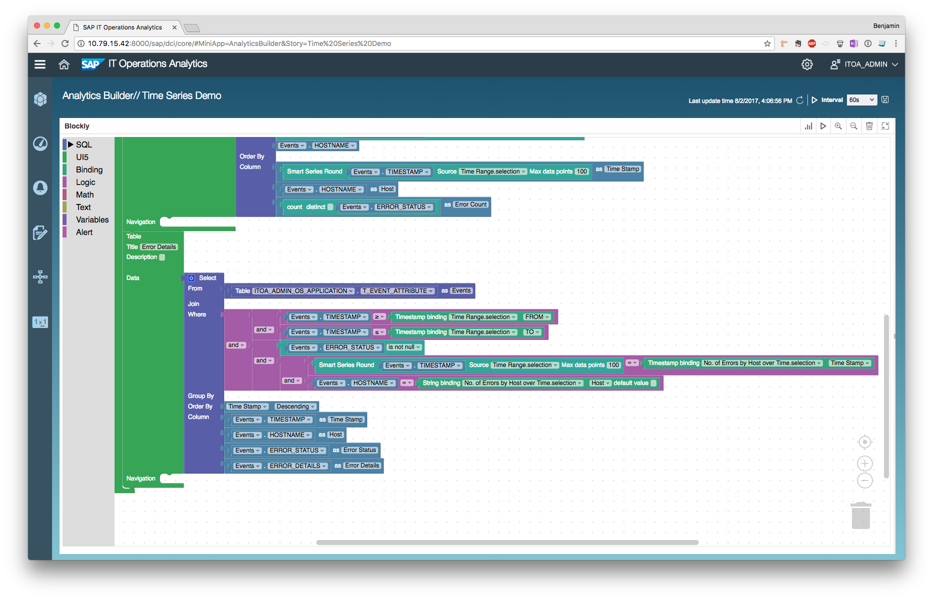 Creating a dashboard with drill-down into a time series chart with ...