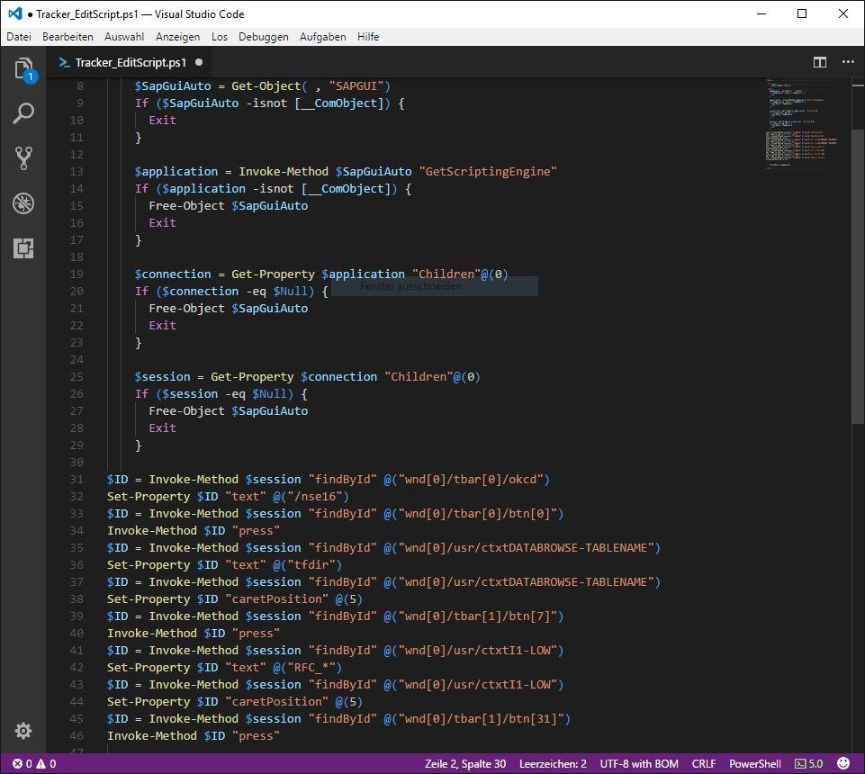 SAP GUI Scripting: Visual Studio Code Editor | SAP Blogs