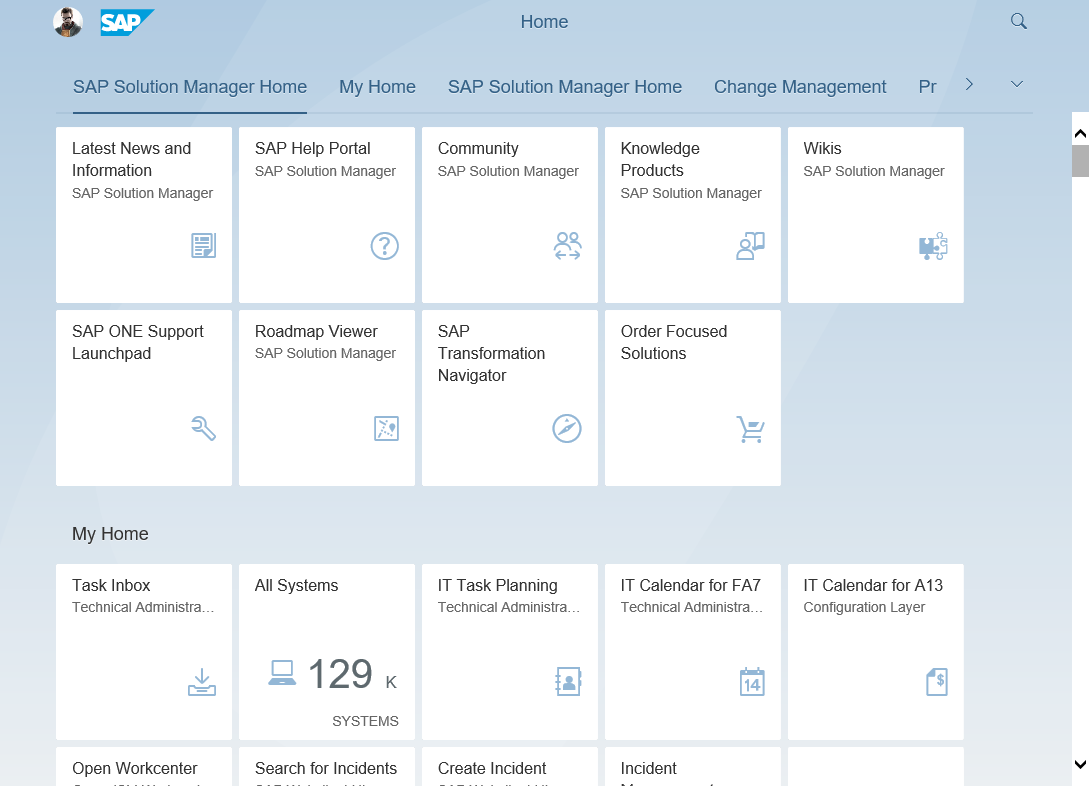 Using the SAP Fiori Launchpad in the SAP Solution Manager