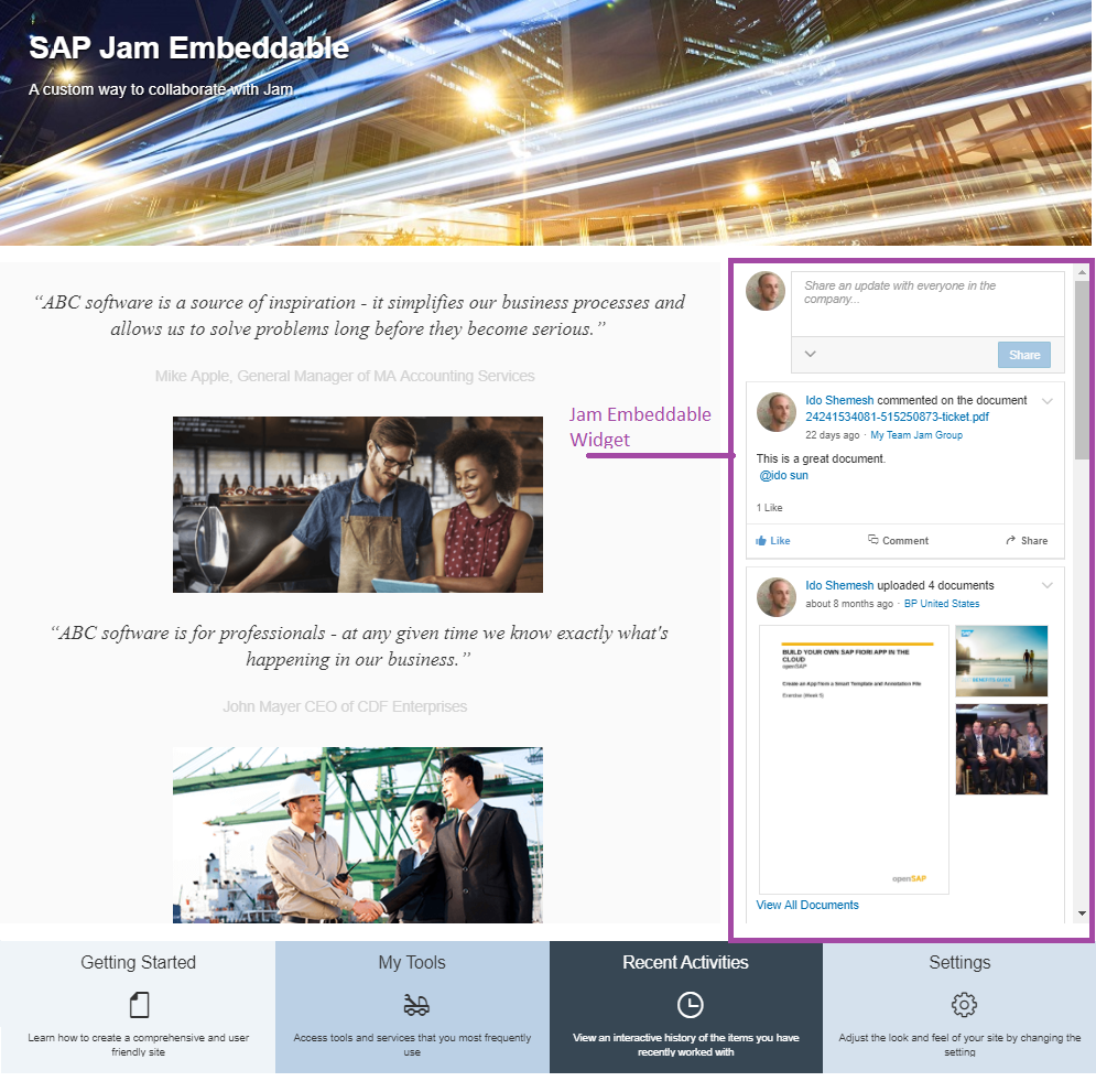 Collaboration In Sap Cloud Platform Portal Sites With Jam Part Process Flow Diagram For By The End Of This You Will Have Ability To Embed A Company Feed Widget Together Web Content And Business Data Your Page