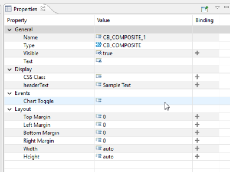 Double click on the Chart Toggle event to edit its script. Write the  following line of code into the event: