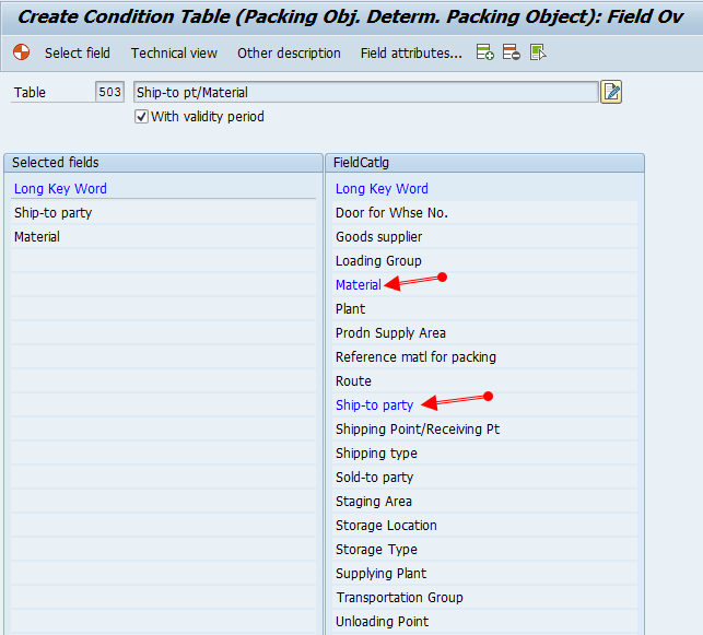 sap packing instruction table