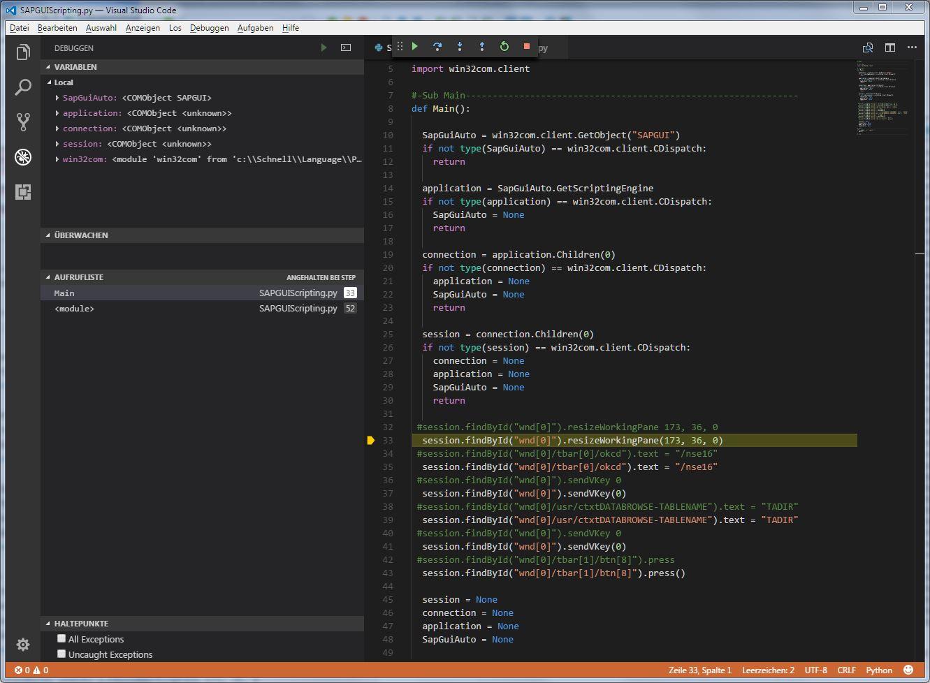 How to use SAP GUI Scripting inside Python Programming Language