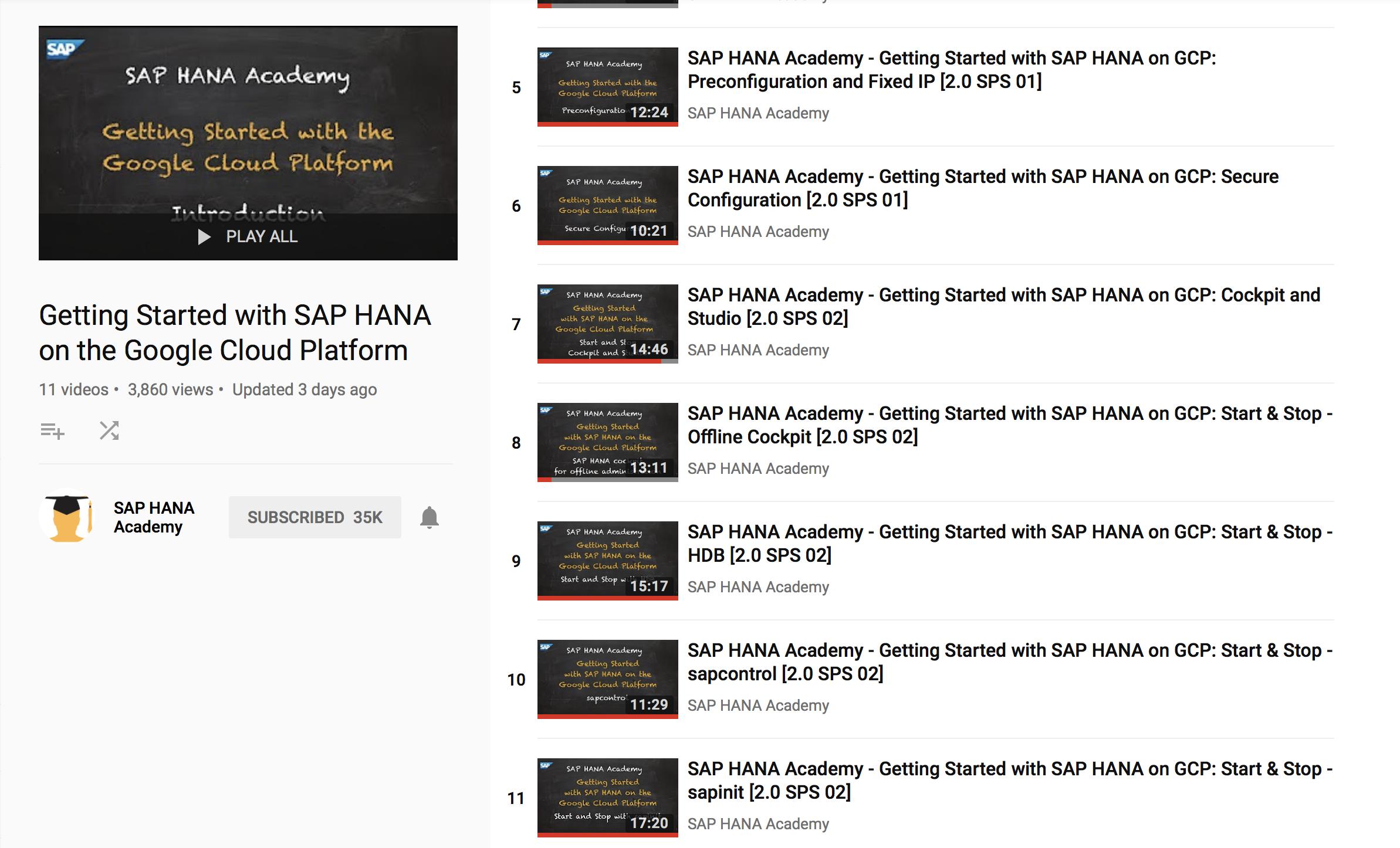 Start and Stop SAP HANA (on GCP) – by the SAP HANA Academy